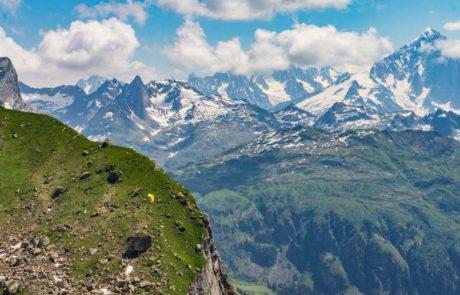 vue du massif du mont blanc depuis platé